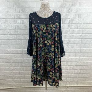 Paper Crown Navy Floral Long Sleeve Dress Smalll